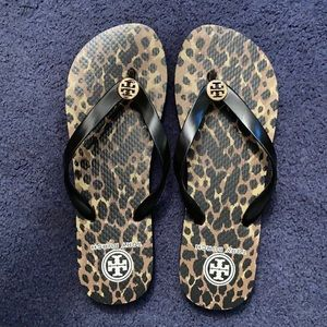 Tory Burch cheetah flip flops